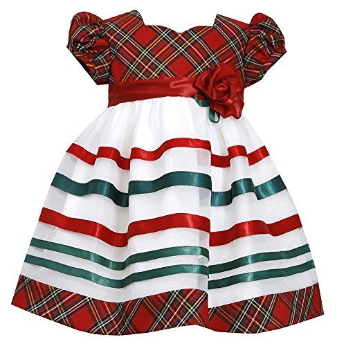 Bonnie Jean Little Girls Red Green Plaid Stripes Christmas Dress 4T -