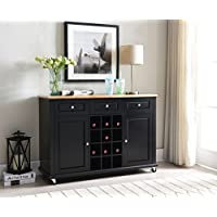Kings Brand Furniture Wine Rack Sideboard Buffet Server Console Table With Storage, Black