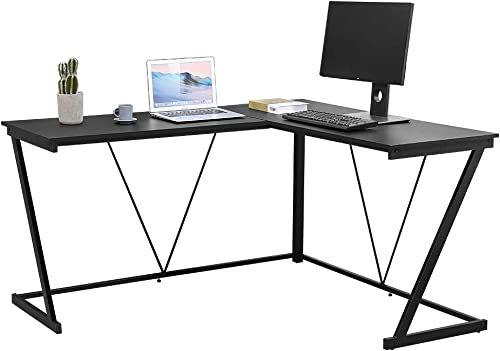 Bonzy Home L-Shaped Desk 57″ Computer Corner Desk Gaming Desk PC Table Writing Desk Home Office Workstation Modern Simple Multi-Usage Desk Black Metal Frame Black