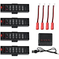4Pcs 3.7V 500mah Battery for JY018 EACHINE E52 Wifi Mini RC Quadcopter Drone + 1 to 4 Charger + Charging Cable - CreaTion