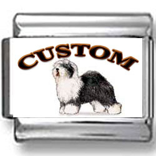(Old English Sheepdog Custom Photo Italian Charm)