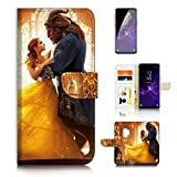 ( For Samsung Galaxy S9 ) Flip Wallet Case Cover & Screen Protector Bundle - A21078 Beauty Beast