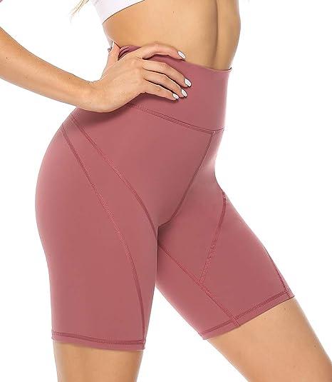 Athletic Shorts High Waist Tummy Control 4 Way Stretch Running Shorts Side Pockets Red XL