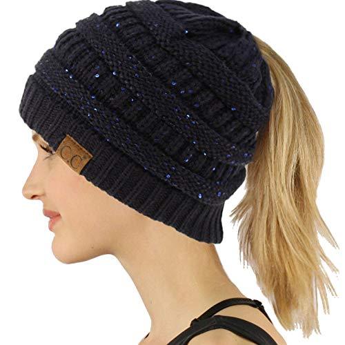 CC Ponytail Messy Bun BeanieTail Soft Winter Knit Stretchy Beanie Hat Cap Sequins Navy