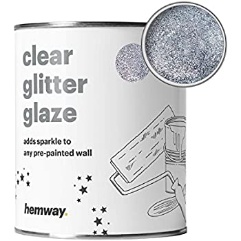 Hemway Clear Glitter Paint Glaze Silver 1l Quart For Pre Painted Walls Acrylic Latex