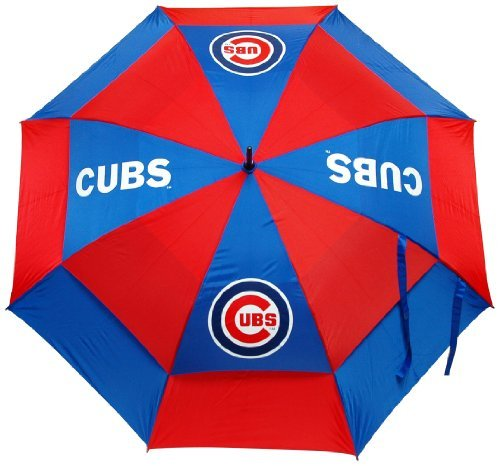 "Team Golf MLB Chicago Cubs 62"" Golf Umbrella with Protective Sheath, Double Canopy Wind Protection Design, Auto Open Button"