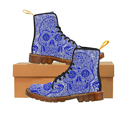 Leinterest Mosaic Skull Blue Martin Boots Fashion Shoes Voor Dames