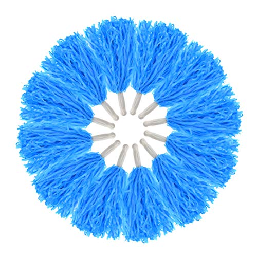 baotongle 12 pcs Cheerleading Pom Poms Hand Flowers Cheerleader Pompoms Sports Dance Cheer Plastic Pom Pom for Sports Team Spirit Cheering Ball Dance Fancy Dress Night Party (Blue, 20Gram)]()