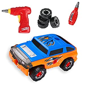 35 Piece Take Apart Modification Toy Car with Drill - Build Your Own Car Set by Big Mo's Toys