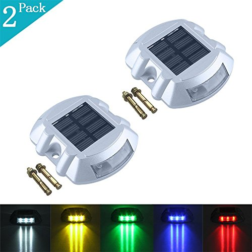 XIHAB Solar Lawn Ground Lights 6LED Outdoor Waterproof Aluminum Cast Spikes Traffic Double Sided Road Indicator Warning Landscape Decoration Step Lamps -2Pack,Yellow -