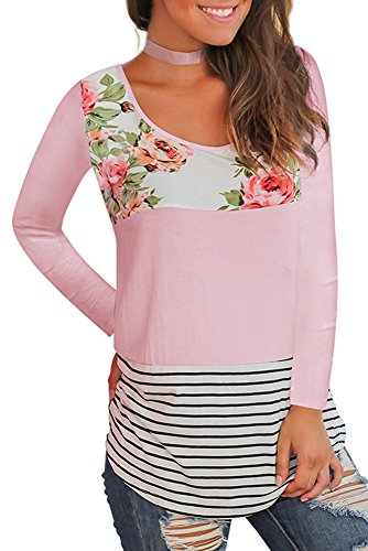 WFTBDREAM Women Shirts Long Sleeve Casual Round Neck Stripe Floral Tops Blouses with Leggings Pink (Round Neck Long Sleeve Top)