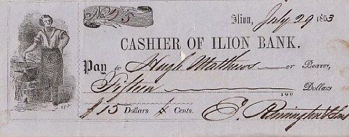 ELIPHALET REMINGTON signed bank check