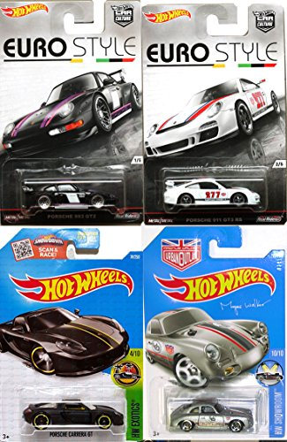 (Eurostyle Porsche Hot Wheels Car Set Porsche 356A Outlaw & 911 GT3 + 993 GT2 Real Riders & Carrera GT Collection in PROTECTIVE CASES)