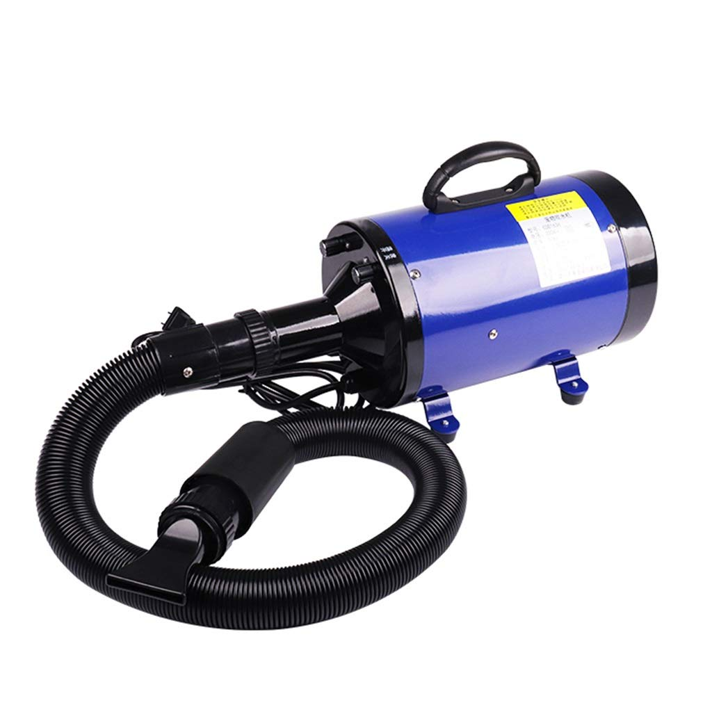 bluee SN Pet Dryer, 2200W Stepless Speed Dog Cat Grooming Low Noise Hairdryer Heating Temperature 30-60 ° C Blaster Blower With 3 Nozzles 2m Flexible Hose (color   bluee)
