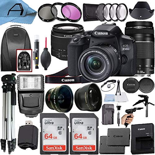 Canon EOS 850D / Rebel T8i Digital SLR Camera w/EF-S 18-55mm f/4-5.6 is STM + EF 75-300mm f/4-5.6 III Dual Lens + 2 Pack…
