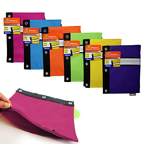 2 School Pencil Pouch 3 Ring Binder Case Bag Travel Cosmetic Makeup Purse Storag