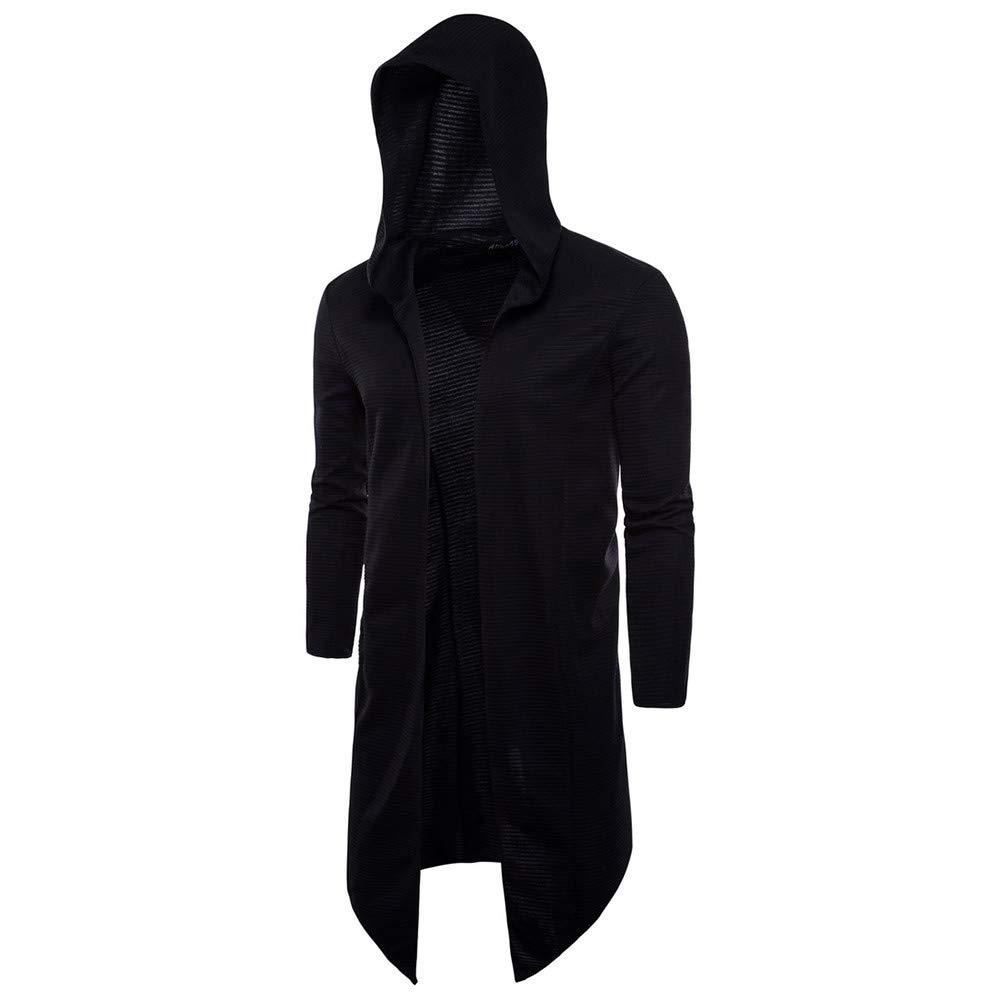 Open Front Long Hooded Outwear for Mens,Teenager Lightweight Long Sleeve Cardigan Sweatshirt (4XL, Black) by sweetnice man clothing