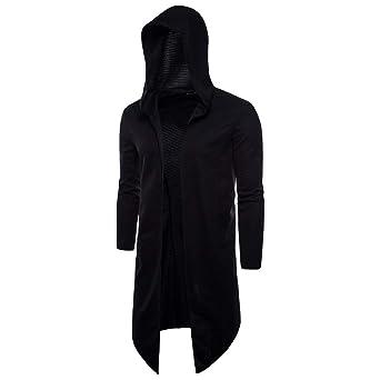 aliveGOT Men'S Long Cape Cardigan Sweatshirt Hooded Cloak