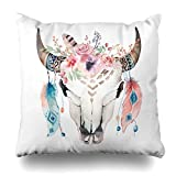 Best Magic Cover Home Fashion Pillows - KJONG Boho Chic Cow Skull Feathers with Flowers Review