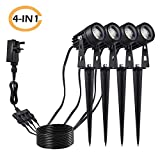 Tomshine 5W COB LED 4 Pack 12V Garden Spike Lights Mains Powered Ip65 Waterproof Outdoor Decorative Garden Spotlights for Pathway Patio Ya