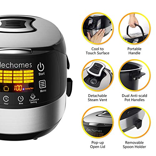 Elechomes LED Touch Control Rice Cooker, 16-in-1 Multi-function Cooker, 10-Cups Uncooked Warmer Cooker with Steam & Rinse Basket, CR502 by Elechomes (Image #1)