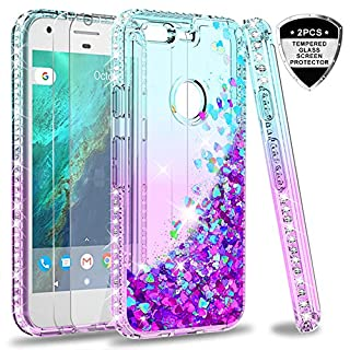 Google Pixel XL Case (Not fit Pixel 3a XL) with Tempered Glass Screen Protector [2 Pack] for Girls Women, LeYi Bling Glitter Diamond Liquid TPU Cute Phone Case for Google Pixel XL ZX Teal/Purple