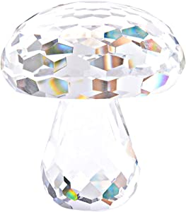LONGWIN Crystal Collection Mushroom Figurines Crystal Sculpture Prism Paperweight Desk Decoration Ornaments