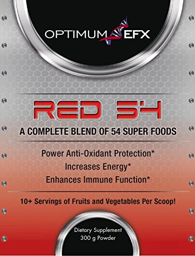 RED 54 - Balanced Energy Blend of 54 Super Foods, Natural mixed Berry Flavor w/ 10+ Servings of Fruits and Vegetables per scoop - OPTIMUM EFX
