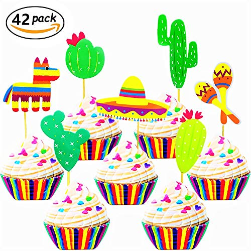 JeVenis (42 pcs) Fiesta Cupcake Toppers Mexican Fiesta Party Striped Decorative Cake Topper for Mexican Themed Cactus Donkey Taco Pepper Sombrero Mustache Party Decorations by JeVenis (Image #2)