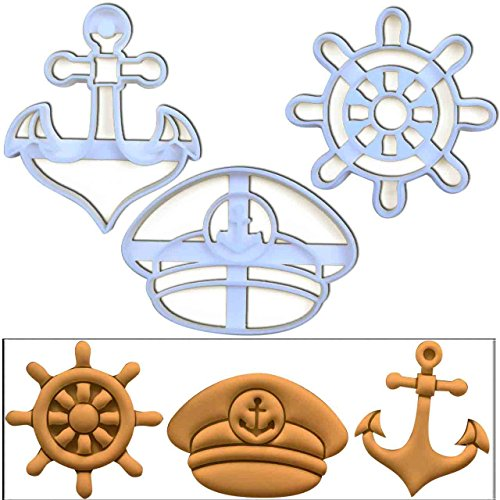 Set of 3 cookie cutters (Anchor, Captains Hat, Ships Wheel), 3 pcs, Ideal for nautical themed party
