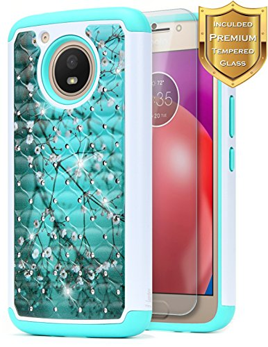 Moto E4 Plus Case with [Tempered Glass Screen Protector], NageBee Glitter Shiny Diamond Case with [Studded Rhinestone Bling] for Motorola Moto E Plus (4th Generation) (Plum)