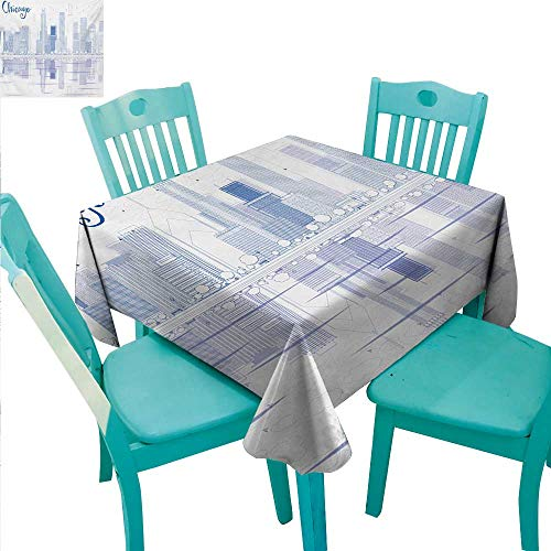 Chicago Skyline Decorative Textured Fabric Tablecloth Skyscrapers Reflection on Lake Michigan USA City Architecture Print Washable Polyester - Great for Buffet Table, Parties, Holiday Dinner, Wedding ()