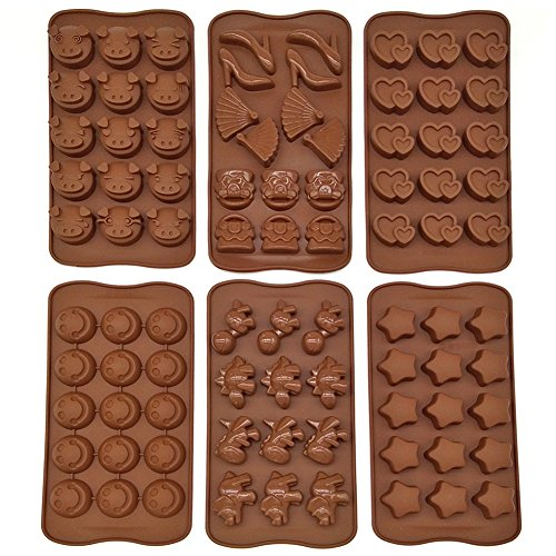 6pcs Six Different Non-stick Silicone Chocolate Jelly Cake C
