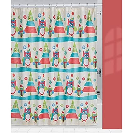 Creative Bath Products Holiday Owls Shower Curtain