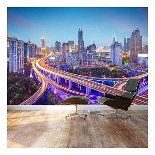 (wall26 - Large Wall Mural - Beautiful City Skyline Traffic Lights on Roads and Bridges at Evening | Self-Adhesive Vinyl Wallpaper/Removable Modern Decorating Wall Art - 66