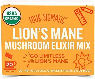 Four Sigmatic Lion's Mane Mushroom Elixir - USDA Organic Lions Mane Mushroom Powder - Memory, Focus, Creativity - Vegan, Paleo - 20 Count