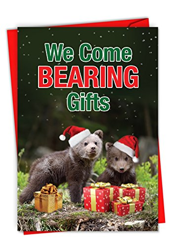 Bearing Gifts - 12 Adorable Bear Christmas Note Cards with Envelopes (4.63 x 6.75 Inch) - Animals in Santa Hats, Season's Greetings Card for Kids, Adults - Happy Holiday Notecard Set C6216XSG-B12x1 -