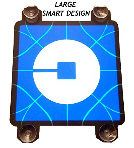 "UBER Sign Light - Large 5"" UBER Light Sign with 4 Suction Cups - Glowing Light up UBER Sign New Logo - Lighted UBER Sticker RIDESHARE Decal - DC5V USB Power No Batteries Required - SIGNATOM U-1000"
