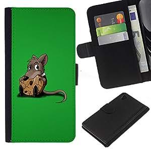 Planetar® Modelo colorido cuero carpeta tirón caso cubierta piel Holster Funda protección Para Sony Xperia Z4 / Sony Xperia Z4V / E6508 ( Cute Rat & Cookie )