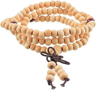 KYDE&V 108 Perline 6-8Mm Braccialetto per Le Donne 1Pc Naturale Legno di Sandalo Buddista Buddha Legno Preghiera Tallone Uomini Braccialetto E Braccialetti Gioielli