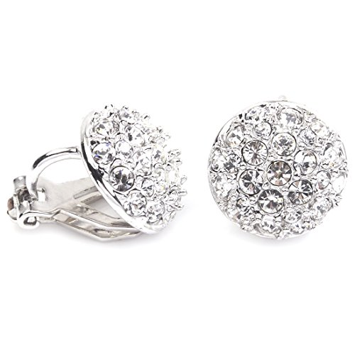 FC White Gold Plated Pave AAA CZ Round Circle Disc Button Stud Earrings Clip-on Earring