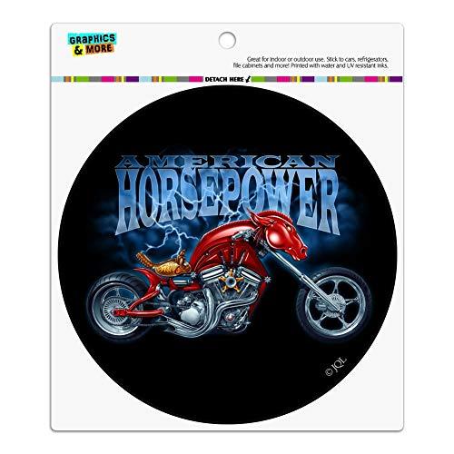 Graphics and More American Horsepower Biker Motorcycle Chopper Automotive Car Refrigerator Locker Vinyl Circle Magnet ()