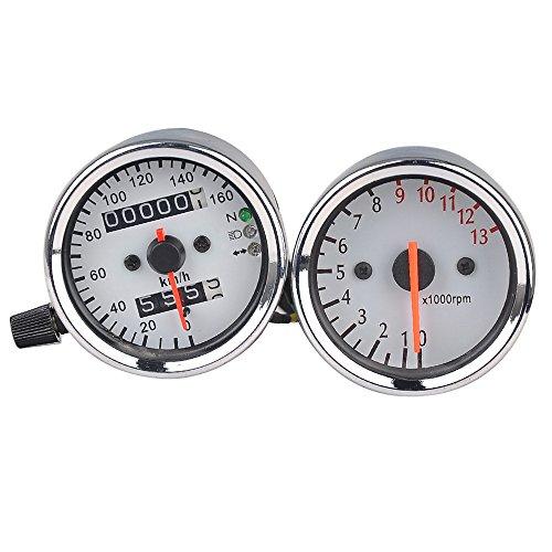 Dual Wegmesser Kilometerzähler Geschwindigkeitsmesser + Tachometer Set Gauge Motorrad mit Hintergrundbeleuchtung DC 12V