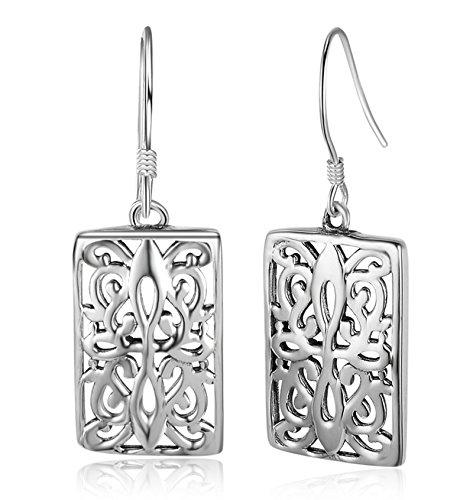 (925 Sterling Silver Women Drop Dangle Earrings Fishhook Rectangle Ivy Pattern, 3.45x1.49cm)