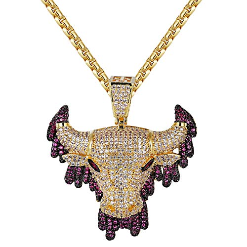 Master Of Bling Men's Purple Iced Out Dripping Bull Face Animal 14k Gold Tone Hip Hop Pendant Steel Chain