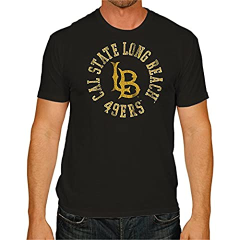 NCAA Long Beach State 49Ers Men's Victory Vintage Tee, XX-Large, Black - Beach Apparel