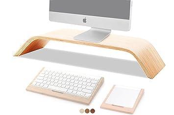 Universal ordenador de sobremesa Monitor aumentar soporte de madera Dock Soporte Pantalla Soporte Para iMac, MacBook, MacBook Air, MacBook Pro PC portátil, ...