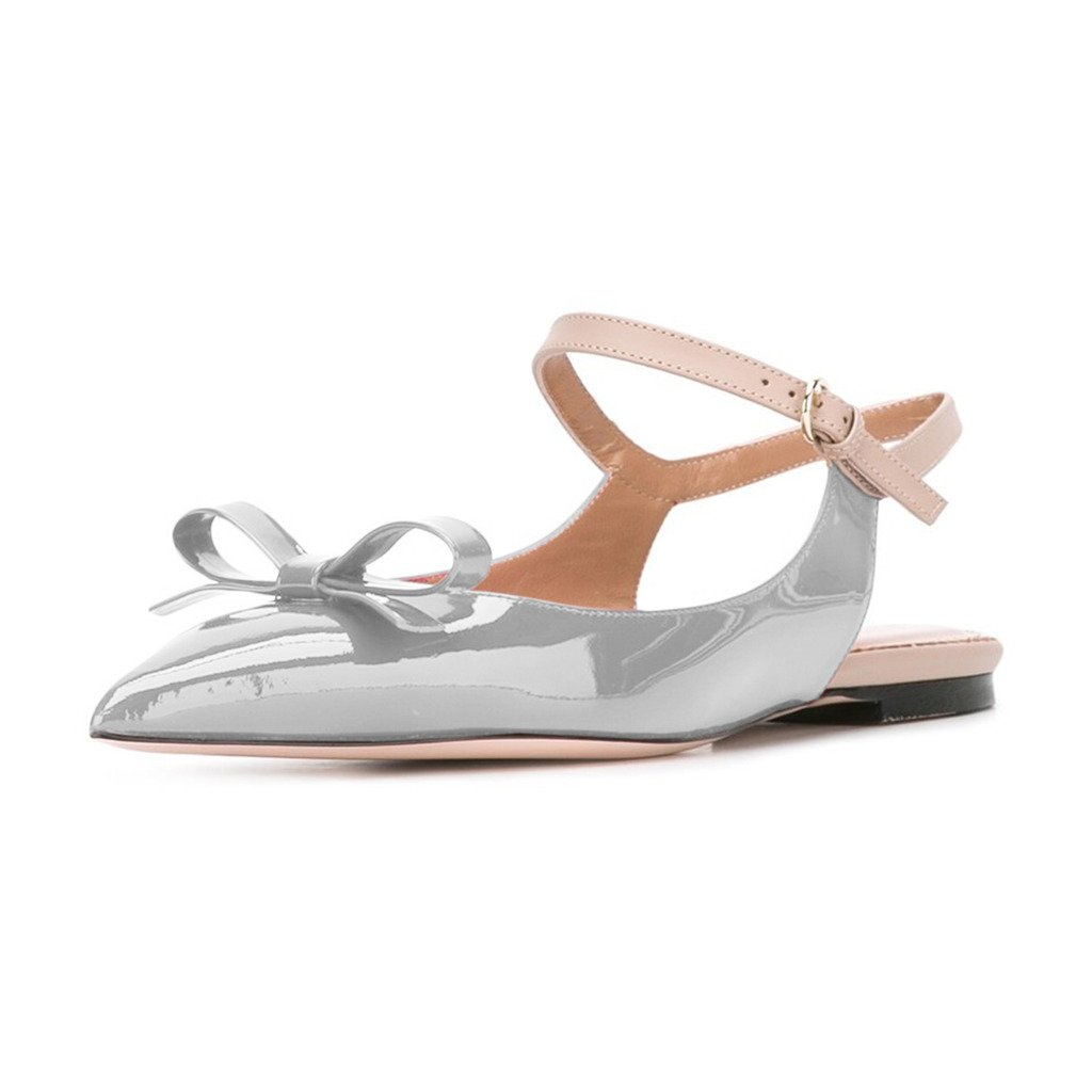 XYD Office Trendy Dress Slingback Flats Pointy Toe Bows Sandals Slip On Pumps Shoes for Women B071NGCWCH 8.5 B(M) US|Gray