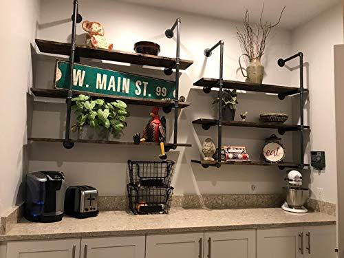 42'' H x 12'' D Industrial Wall Mount Iron Pipe Shelf Shelves Shelving Bracket Vintage Retro Black DIY Open Bookshelf DIY Storage offcie Room Kitchen (2 Pcs 4Tier Hardware Only) by My Rustic (Image #5)