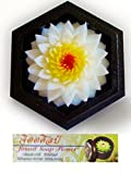 Jittasil Thai Hand-Carved Soap Flower, 4 Inch Scented Soap Carving Gift-Set, White Lotus In Decorative Hexagonal Pine Wood Case